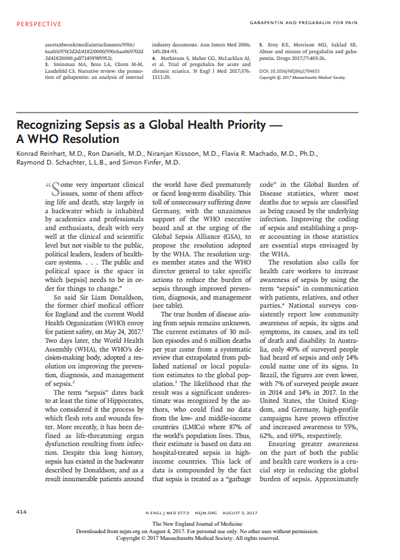 Recognising sepsis as a global health priority