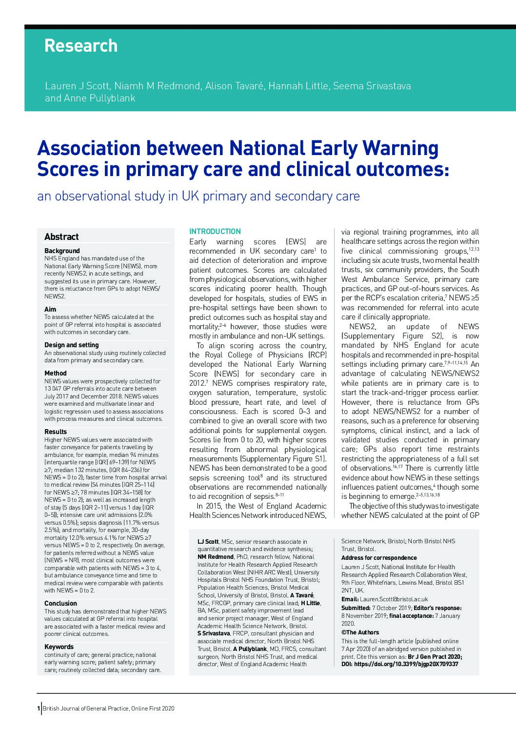 Association between NEWS in primary care & clinical outcomes