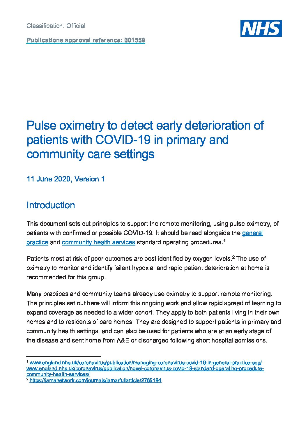 Pulse oximetry and remote monitoring